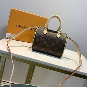✨LV Speedy Nano Brown Leather Cross Body Mini Bag